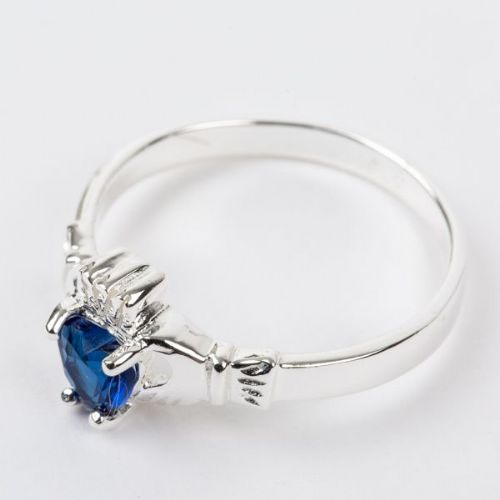 Sterling Silver Claddagh Ring Birthstone for September